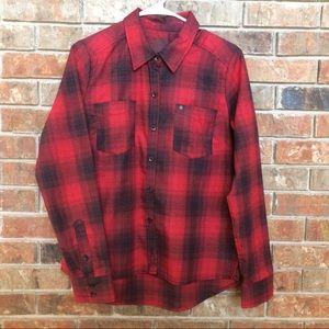 Hurley Red and Black Button Up Shirt Size Medium